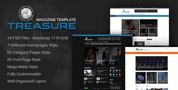 Treasure | Blog and Magazine PSD Template Download