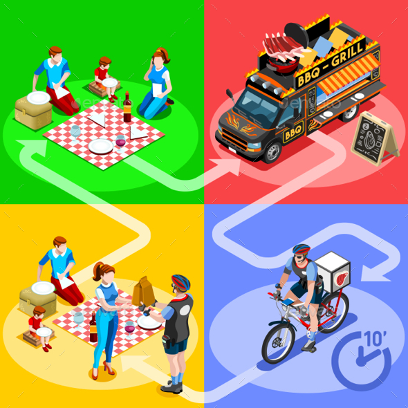 Food Truck BBQ Grill Home Delivery Vector Isometric People - Vectors