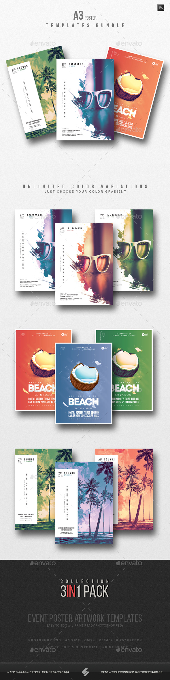 Summer Beach 2 - Party Flyer / Poster Templates Bundle - Clubs & Parties Events