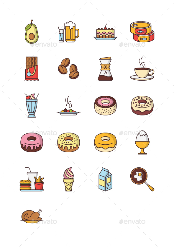 21 Food & Drink Icons - Food Objects