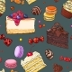Seamless Pattern of Hand Drawn Cakes, Candies