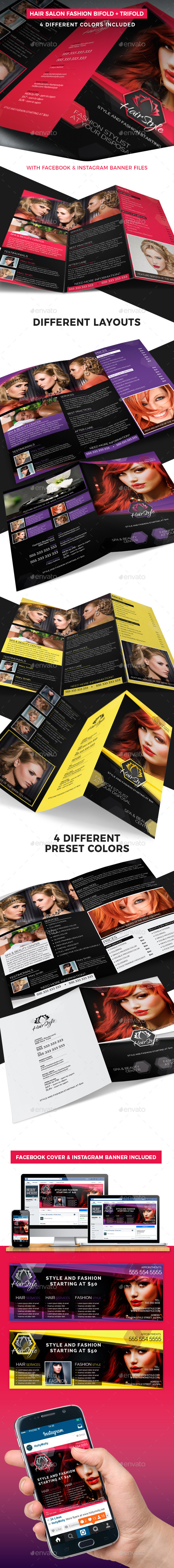 Hair Salon Fashion Style Bifold + Trifold - Informational Brochures
