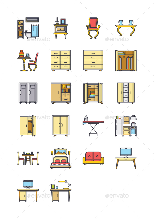 22 Furniture Icons - Objects Icons