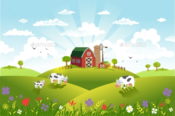 Vector Illustration of Landscape - Landscapes Nature