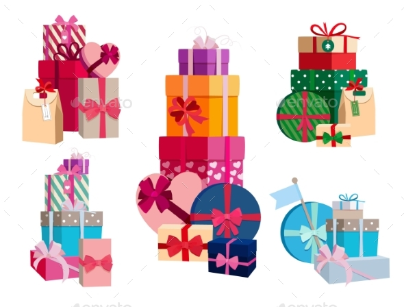 Array of Gifts in Different Colorful Packages - Objects Vectors