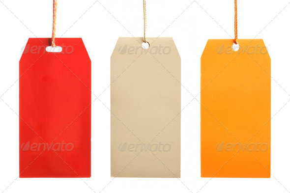 Three paper tags isolated - Stock Photo - Images