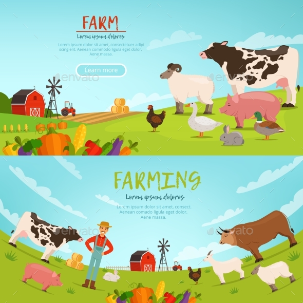 Agribusiness Vector Illustrations.  - Animals Characters