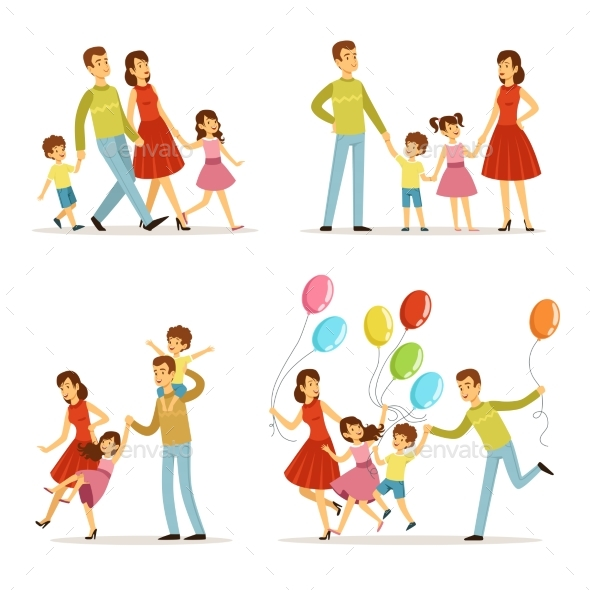 Happy Family Portrait. Father, Mother and Kids - People Characters