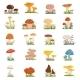 Different Mushrooms on Green Grass. Vector Set