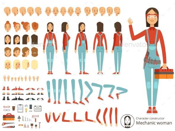 Big Creation Kit of Girl Mechanic in Working - People Characters