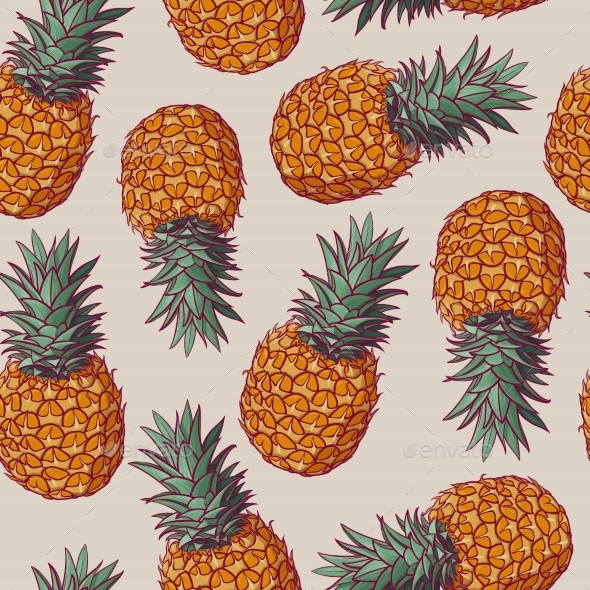 Seamless Pattern with Vector Illustrations of Pineapples - Backgrounds Decorative