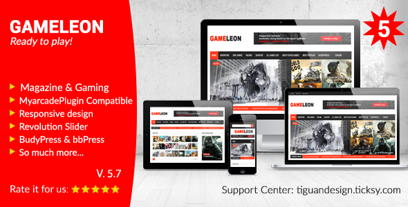 Gameleon - WordPress Magazine & Arcade Theme - Entertainment WordPress