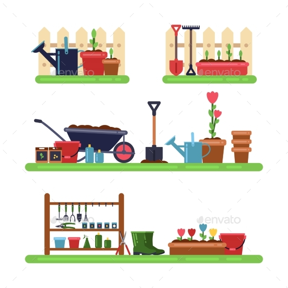 Gardens Landscape with Different Furniture. Summer - Objects Vectors
