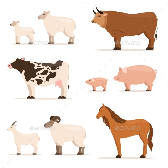 Animals on Farm. Lamb, Piglet, Cow and Sheep, Goat - Animals Characters