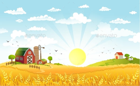 Vector Illustration of Beautiful Landscape - Landscapes Nature