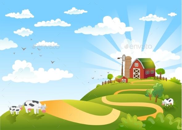 Vector Illustration of Landscape - Landscapes Nature