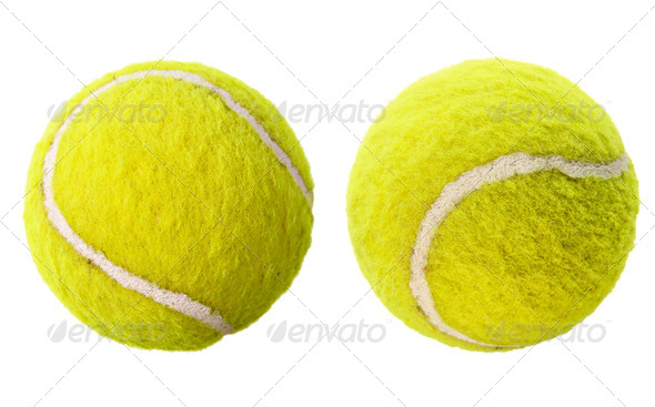 Two tennis balls isolated - Stock Photo - Images