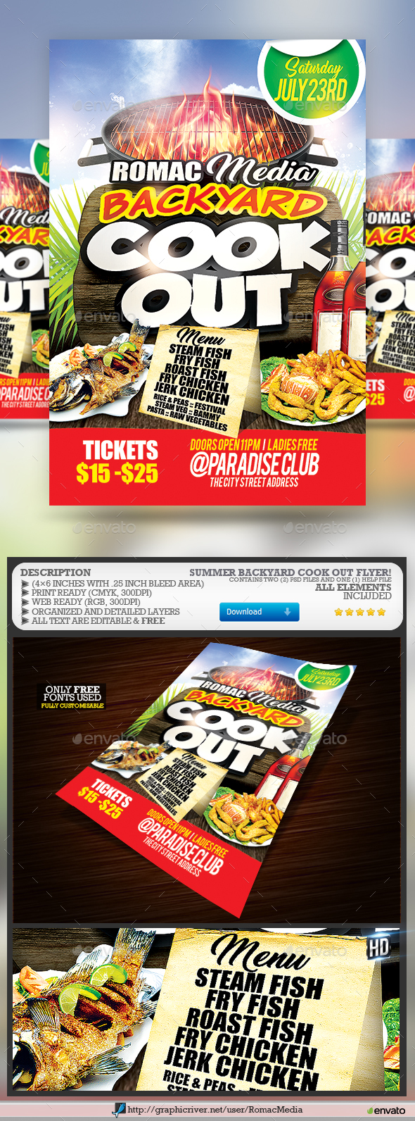 Backyard Flyer Part - 44: Backyard Cook Out Party Flyer - Events Flyers
