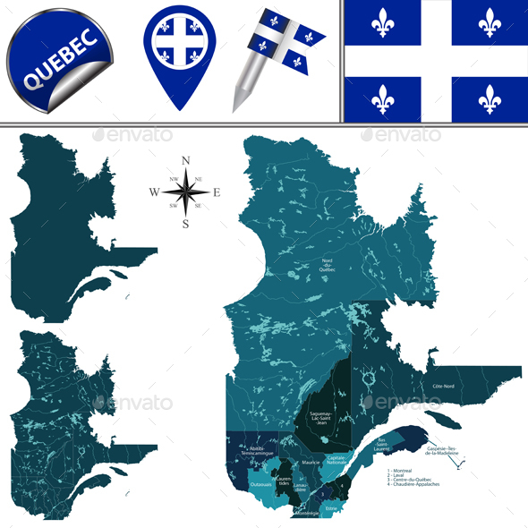 Regions of Quebec, Canada - Travel Conceptual