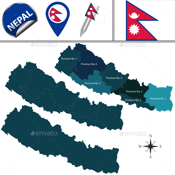 Map of Nepal with Provinces - Travel Conceptual