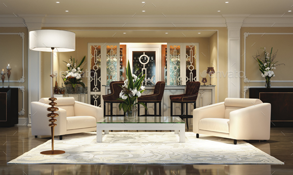 3d Render Hotel Lobby Interior - Architecture 3D Renders