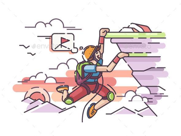 Rock Climber Hanging on Cliff - Characters Vectors