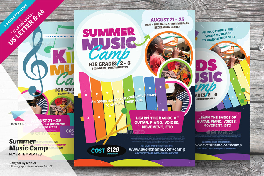 Summer Music Camp Flyer Templates By Kinzi21 | Graphicriver