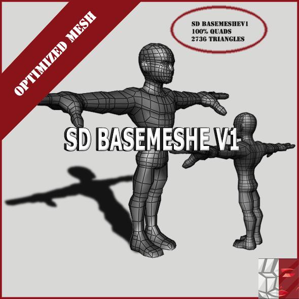 MaleBaseMeshV1 - 3DOcean Item for Sale