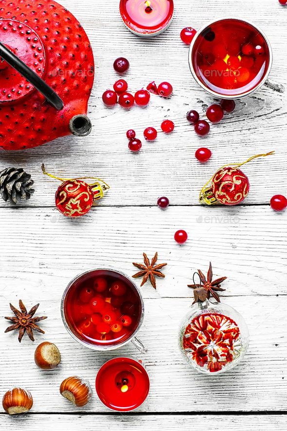 Christmas tea with berry cranberry - Stock Photo - Images