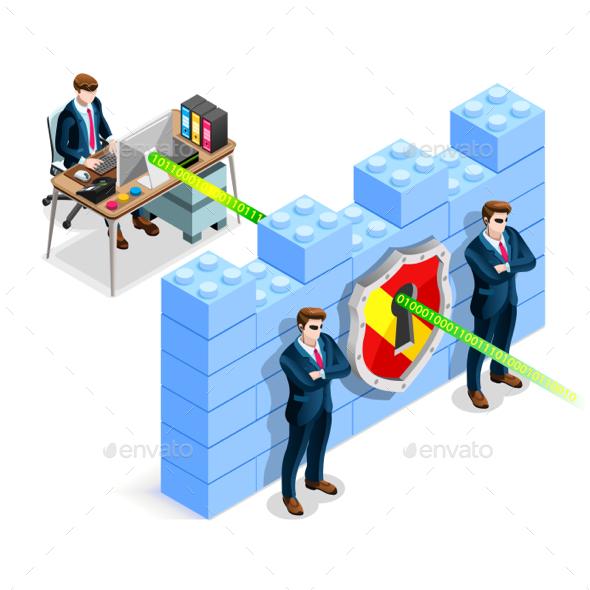 Vector Isometric Firewall Anti Virus Defense - Vectors