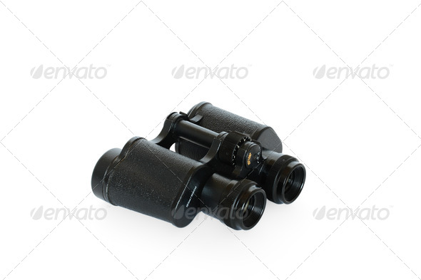 Black binoculars isolated on white background - Stock Photo - Images