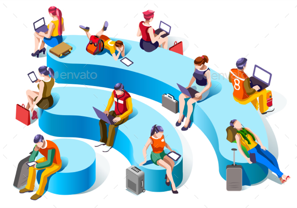 Wi-fi Connecting Isometric People Vector Social Graphics - People Characters