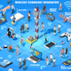 Wireless Connecting Isometric People Vector Social Graphics