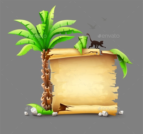 Old Paper Manuscript and Palm with Monkey Silhouette - Miscellaneous Vectors