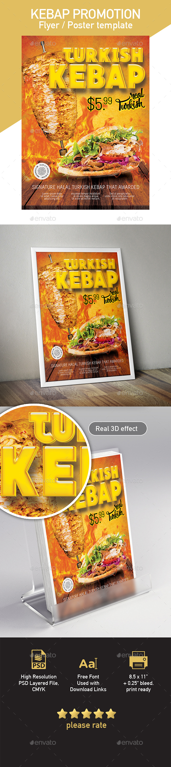 Turkish Kebap Flyer / Poster Template - Flyers Print Templates