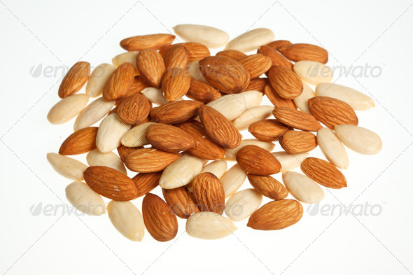 Pile of mixed almonds  isolated - Stock Photo - Images