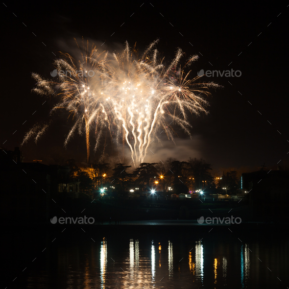 Fireworks over the city - Stock Photo - Images