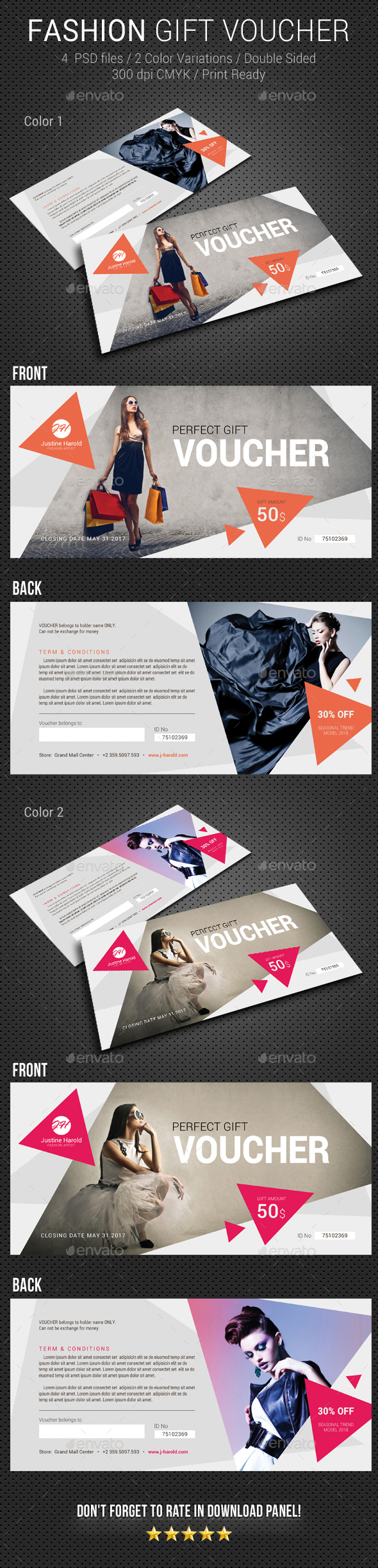 Fashion Gift Voucher 2 - Cards & Invites Print Templates