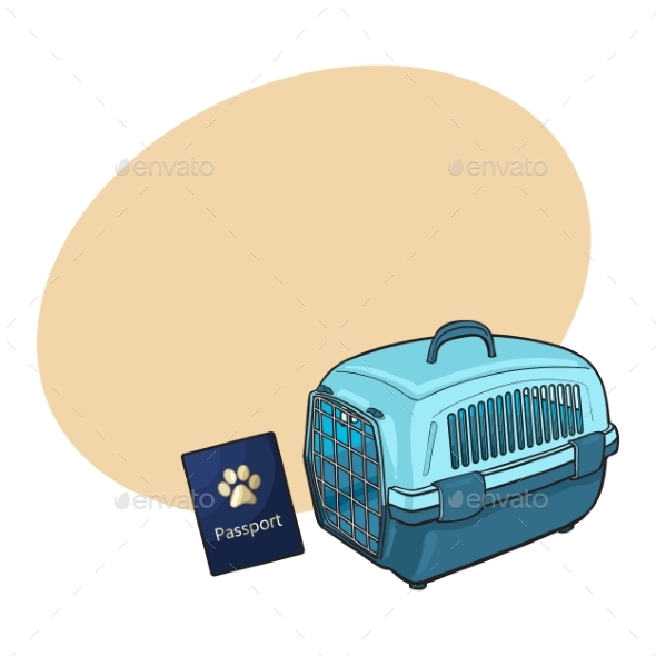 Travel with Cats, Dogs - Blue Plastic Carrier