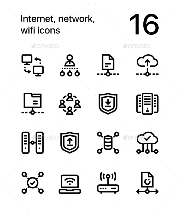 Internet, Network, Wifi Icons for Web and Mobile Design Pack 3 - Technology Icons