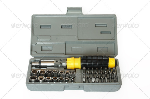 Screw driver and spanner kit - Stock Photo - Images