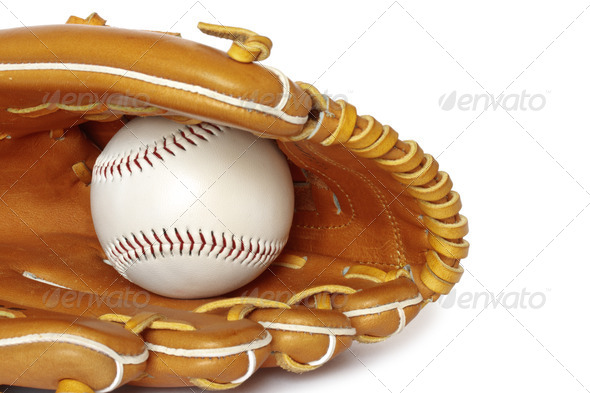 Baseball catcher mitt with ball isolated on white background clo - Stock Photo - Images