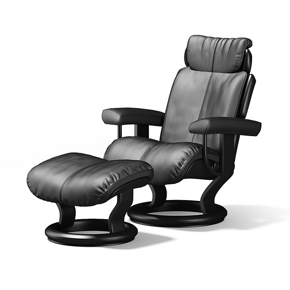 Black Leather Chair with Footrest - 3DOcean Item for Sale