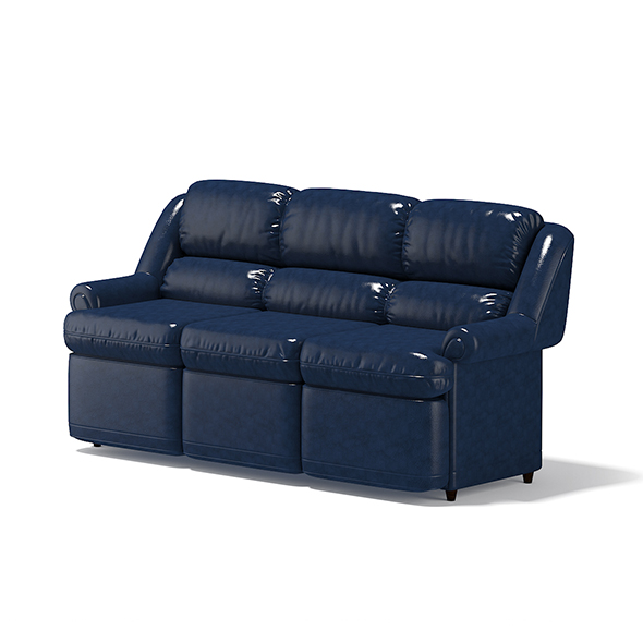 Blue Leather Sofa - 3DOcean Item for Sale