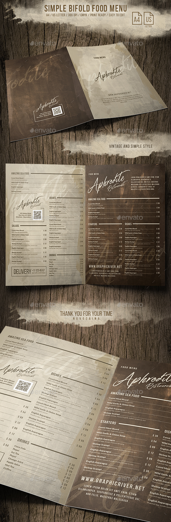 Simple Style Bifold Menu - A4 and US Letter - Food Menus Print Templates