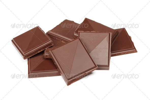 Pile of dark chocolate isolated - Stock Photo - Images
