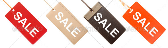 "Set of paper tags with ""Sale"" written on them isolated - Stock Photo - Images"