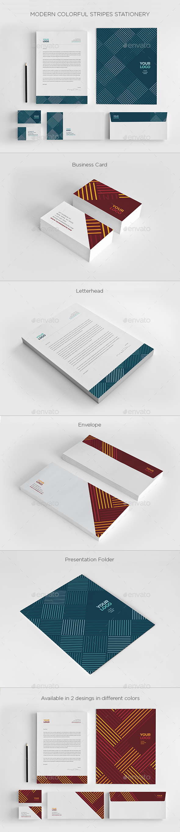 Modern Colorful Stripes Stationery - Stationery Print Templates