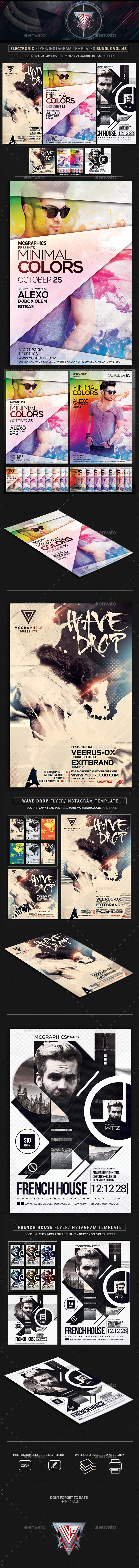 Electro Music Flyer/Instagram Bundle Vol. 44 - Print Templates