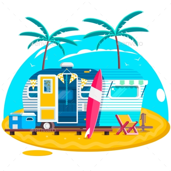 Tropical Sunset. Travel Trailer Caravans. Surfing - Man-made Objects Objects